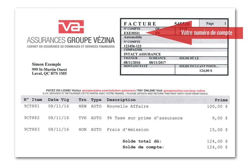 Assurances Groupe Vézina Paiement par internet
